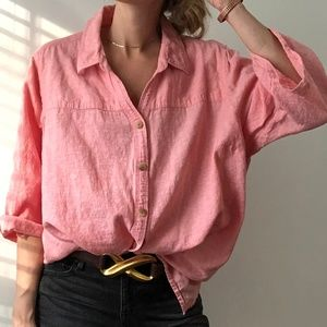 Vintage Tops - Oversized Linen Button Up Shirt - rosé